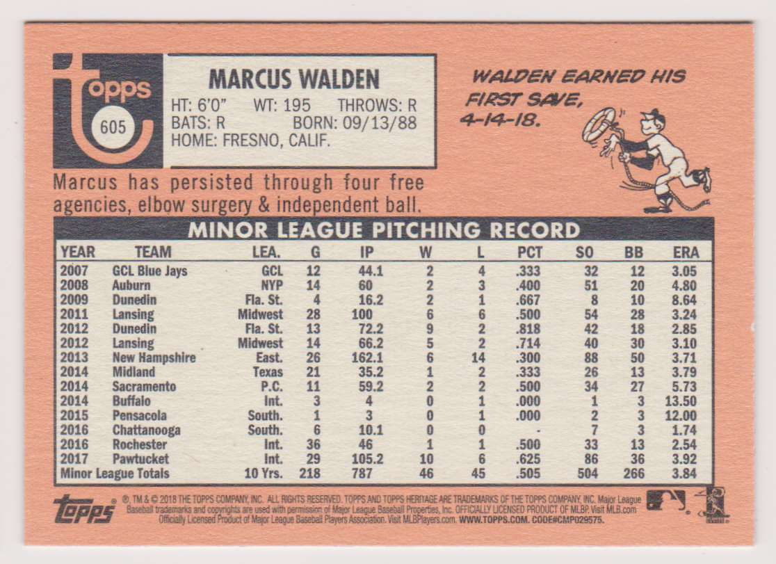 2018 Topps Heritage Marcus Walden #605 card back image
