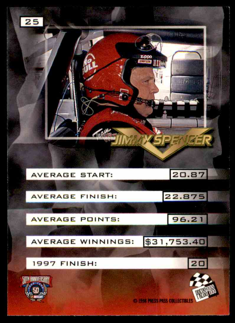 1998 Press Pass Vip Jimmy Spencer #25 card back image