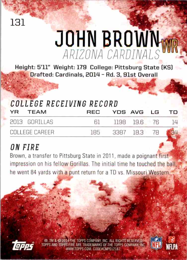 2014 Topps Fire John Brown RC #131 card back image
