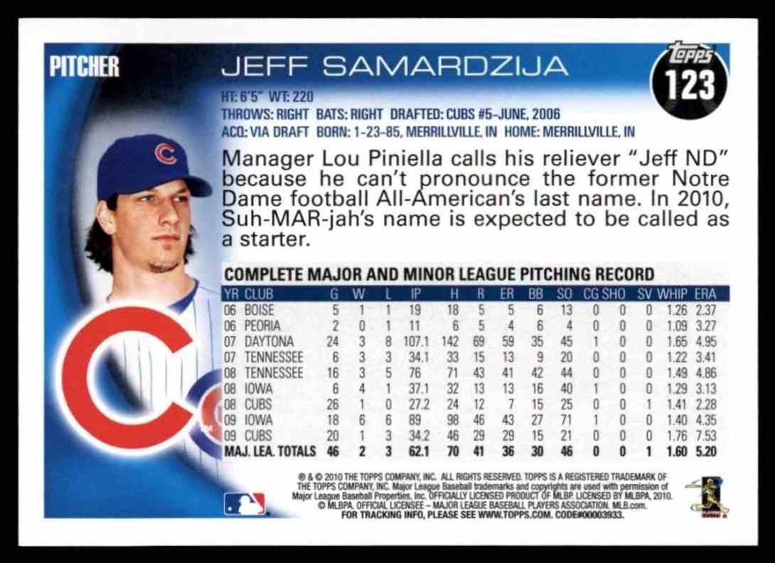 2010 Topps Jeff Samardzija #123 card back image