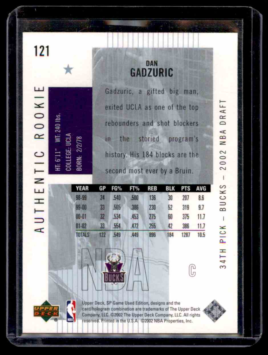 2002-03 SP Game Used Dan Gadzuric #121 card back image