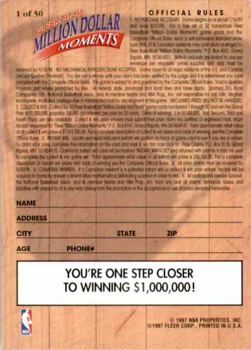 1997-98 Fleer Million Dollar Moments Checklist (1-50) #1 card back image