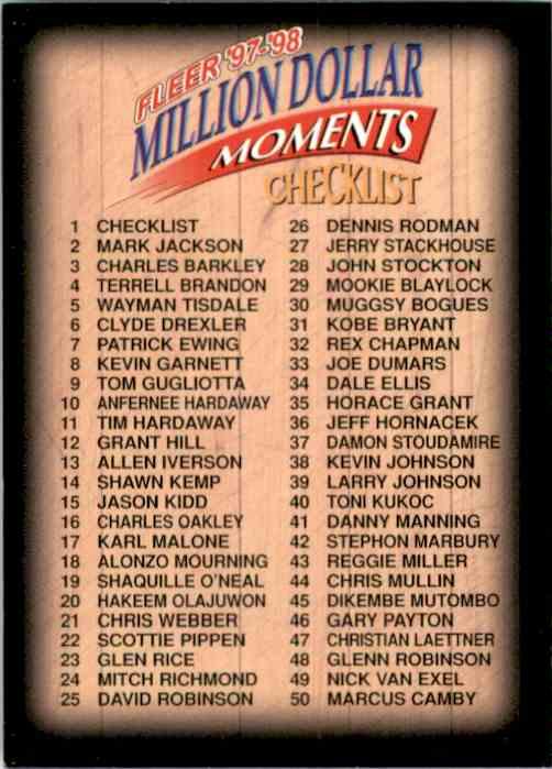 1997-98 Fleer Million Dollar Moments Checklist (1-50) #1 card front image
