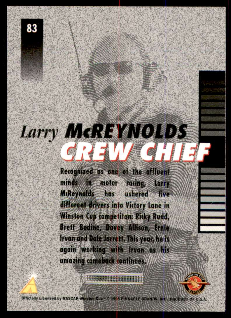 1996 Pinnacle Pole Position Larry McReynolds #83 card back image