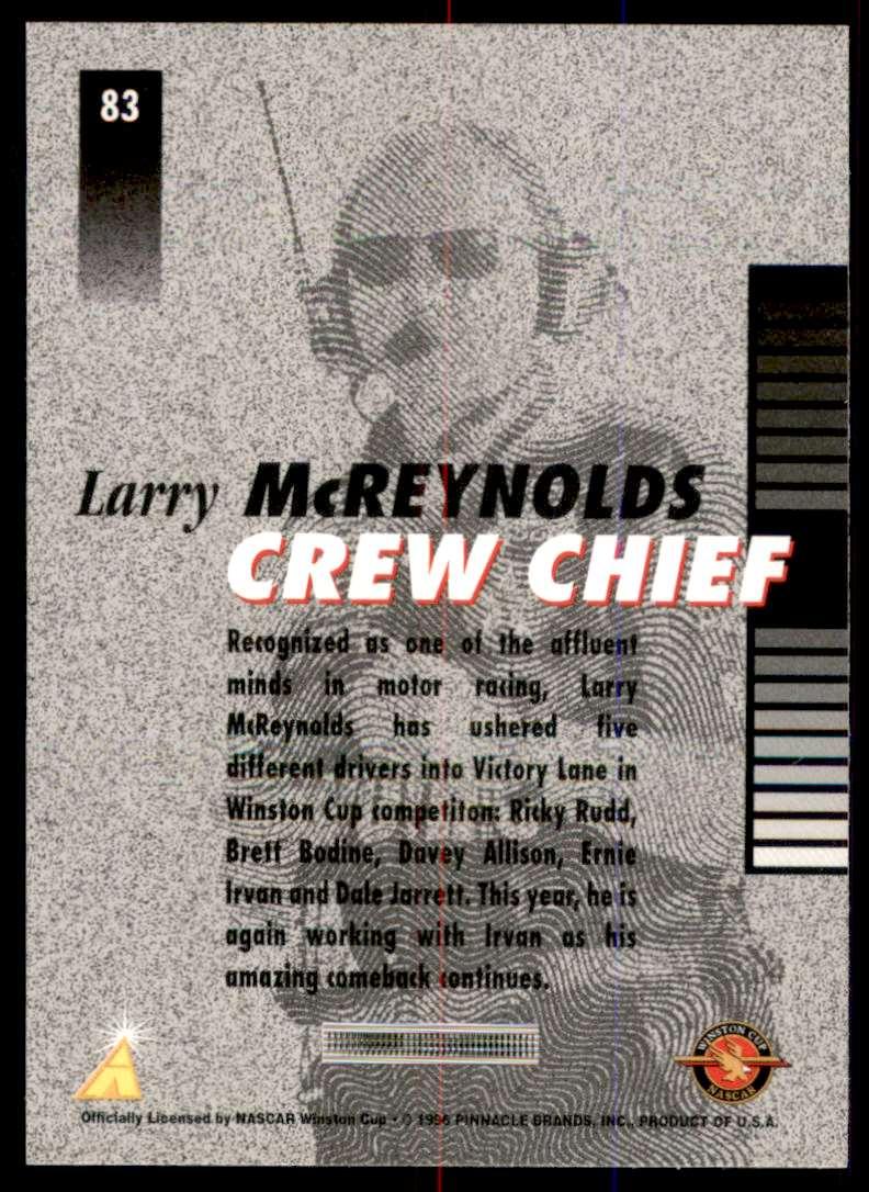 1996 Pinnacle Pole Position Larry McReynolds #83 card back image