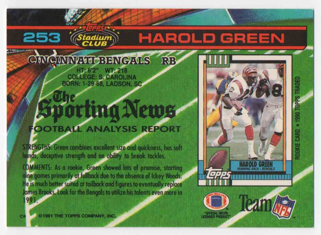 1991 Stadium Club Harold Green #253 card back image