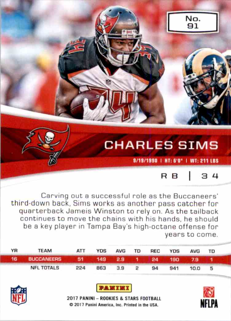 2017 Rookies And Stars Charles Sims #91 card back image