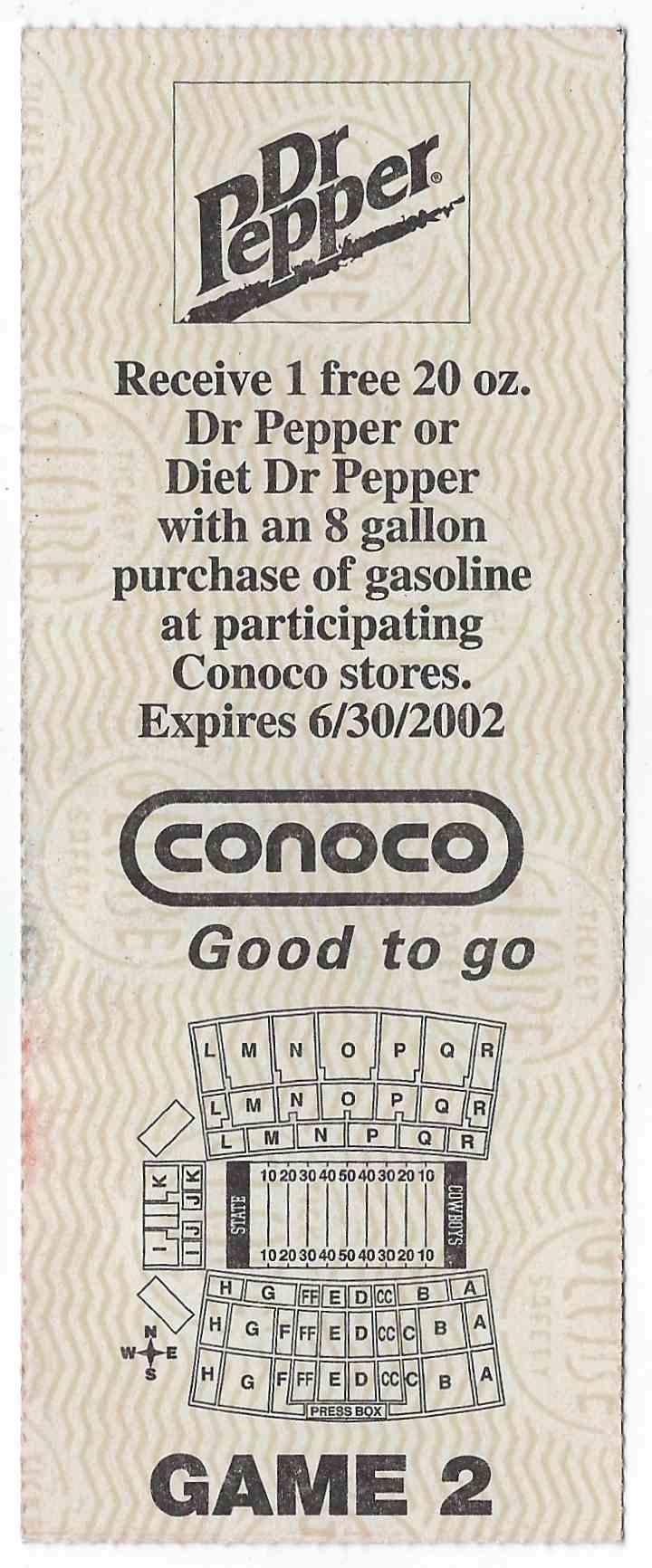 2001 College Football Ticket Stub Northern Arizona Vs Oklahoma State card back image