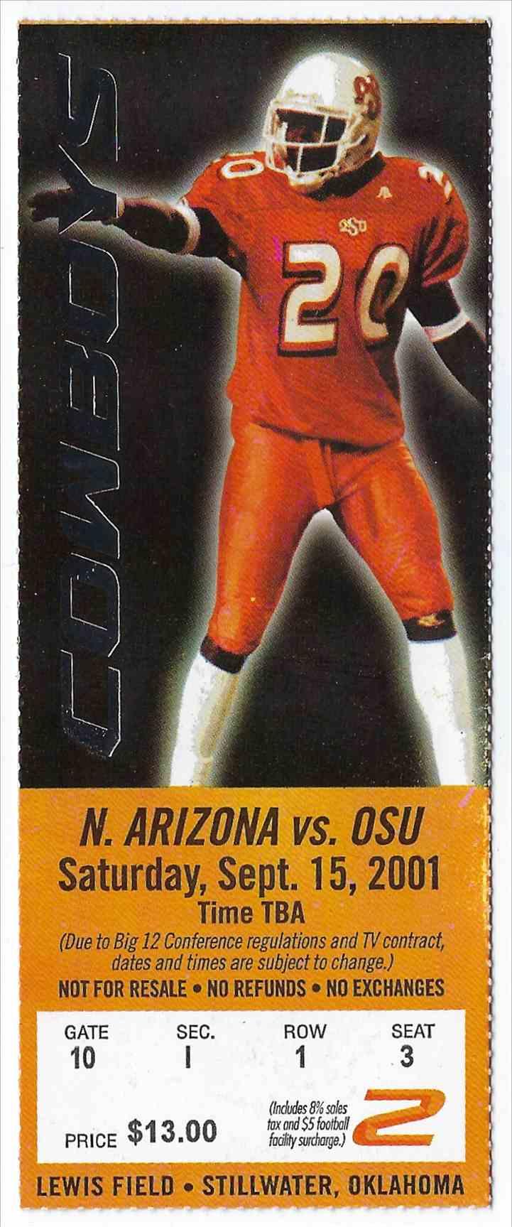 2001 College Football Ticket Stub Northern Arizona Vs Oklahoma State card front image