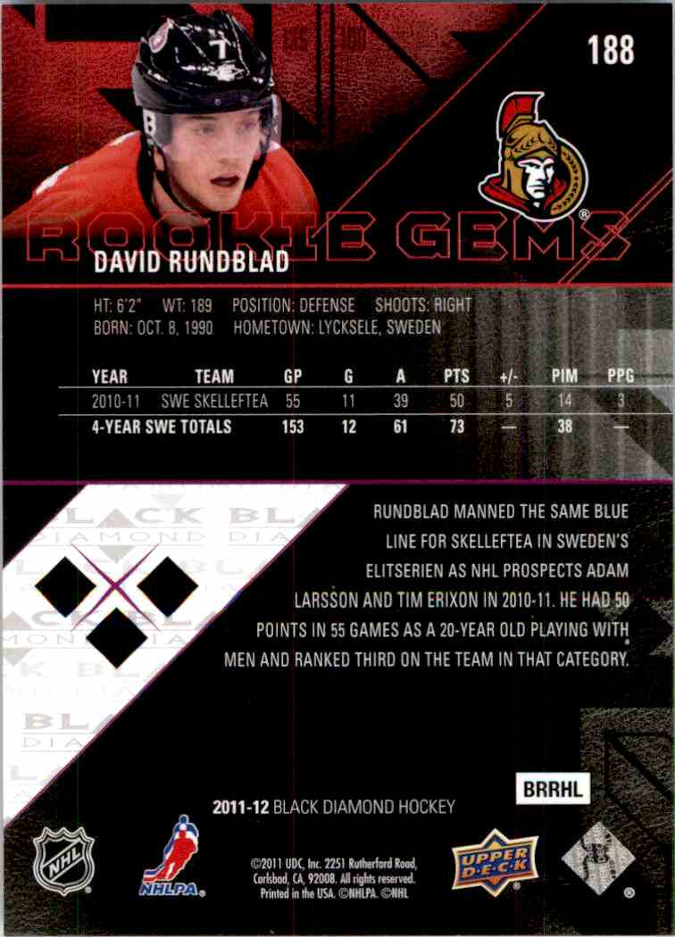 2011-12 Upper Deck Black Diamond Rookie Gems David Rundblad #188 card back image