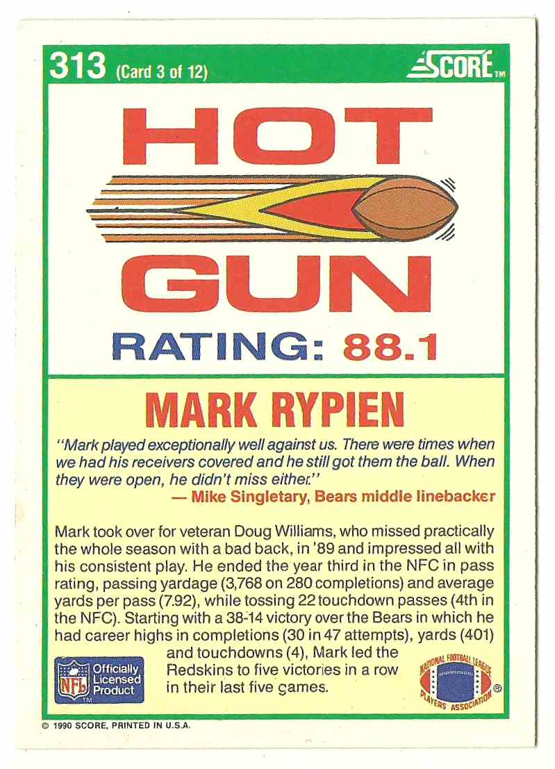 1990 Score Mark Rypien #313 card back image