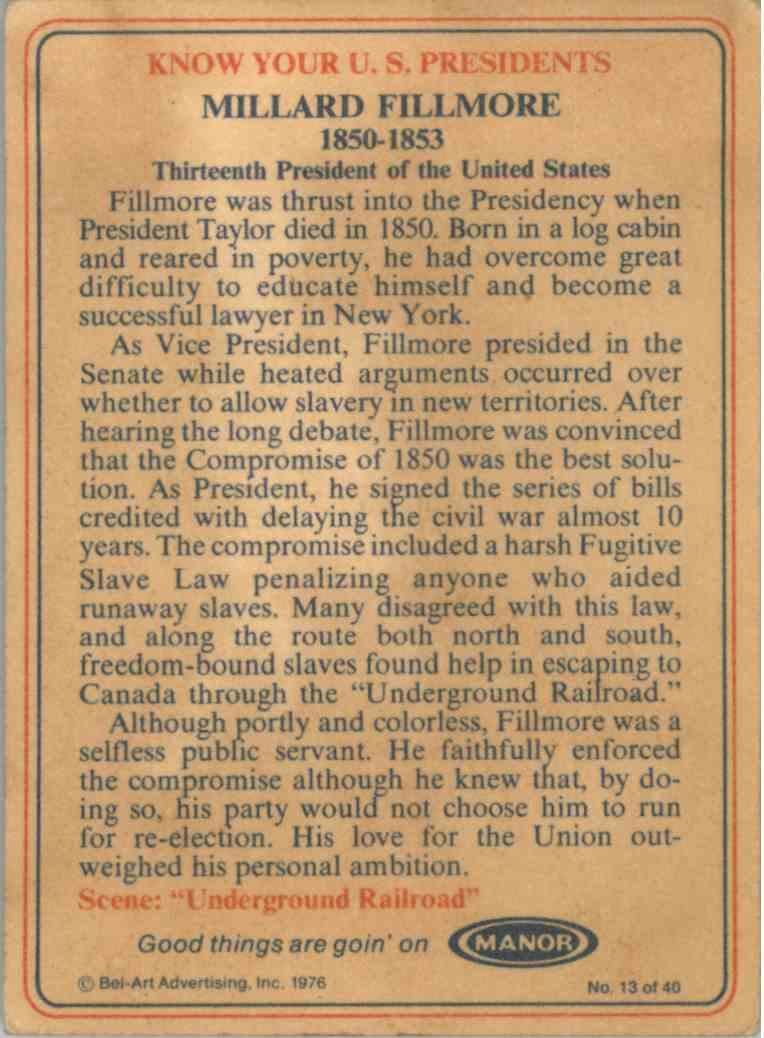 1976 Bel-Art Manor Millard Fillmore #13 card back image