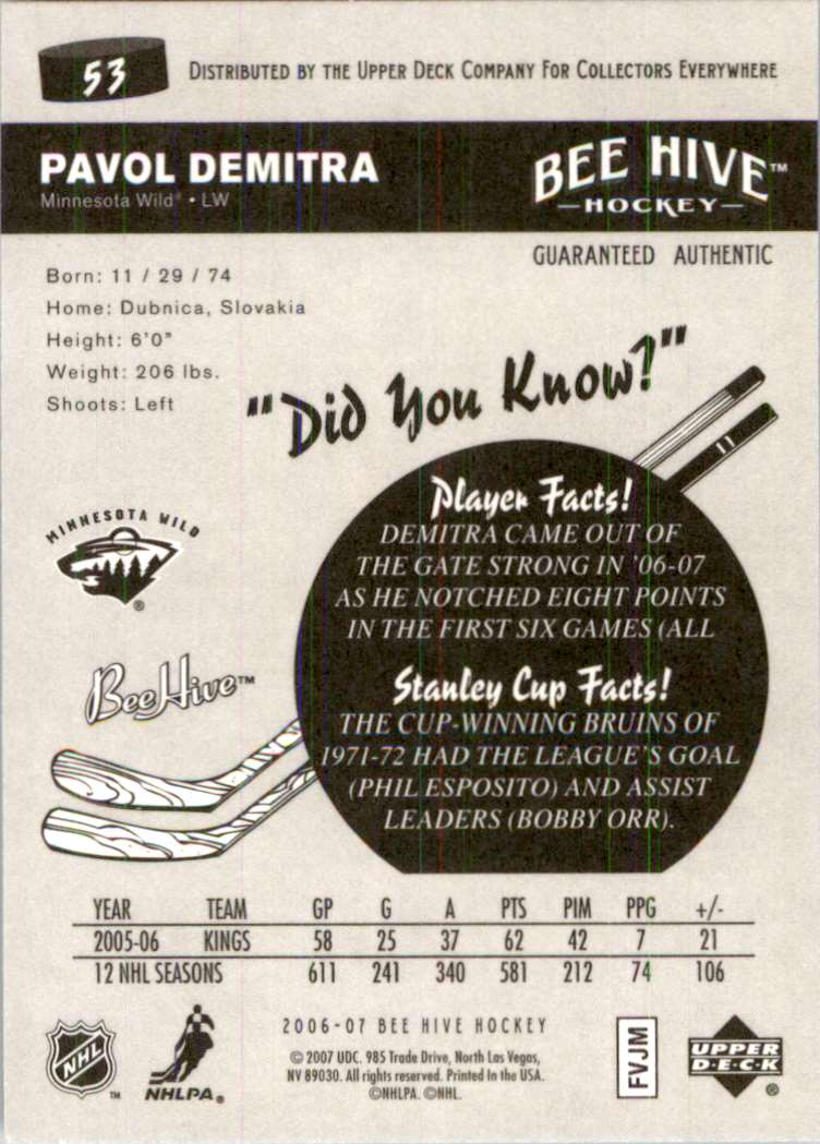 2006-07 Upper Deck Beehive Pavol Demitra #53 card back image
