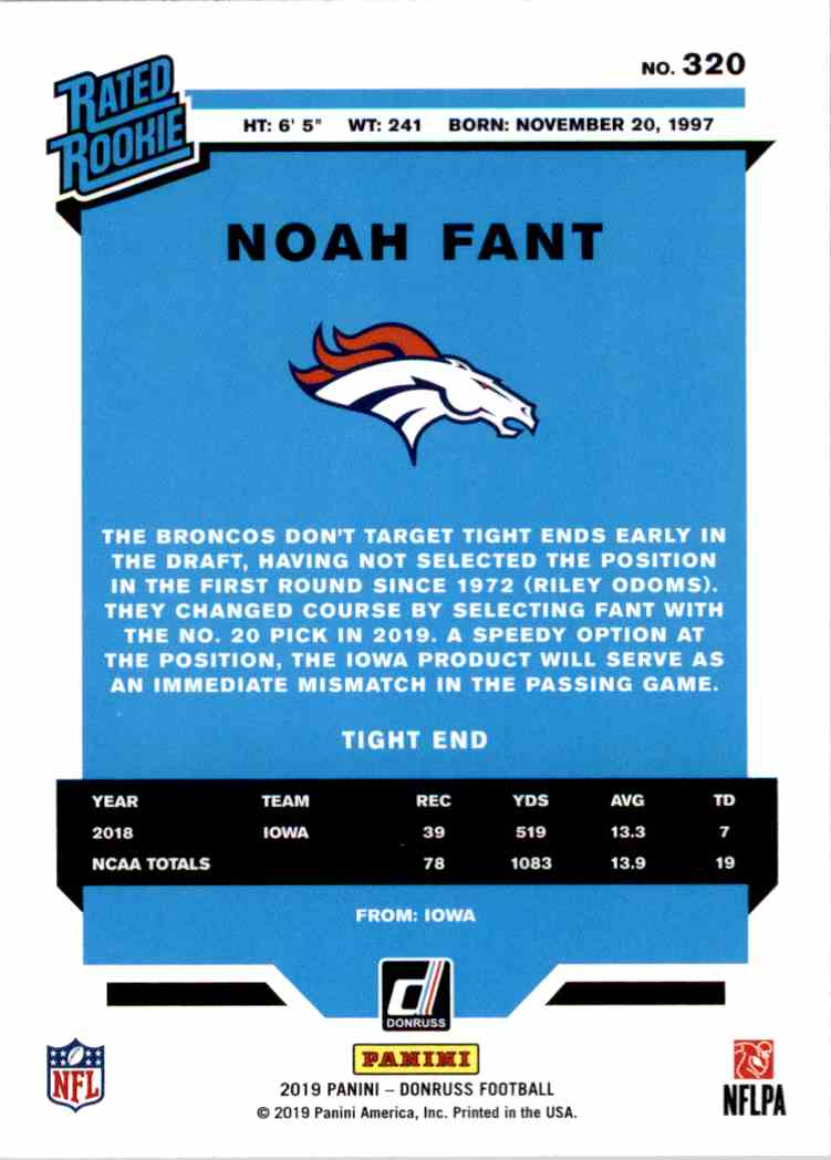 2019 Panini Donruss Rated Rookie Noah Fant #320 card back image