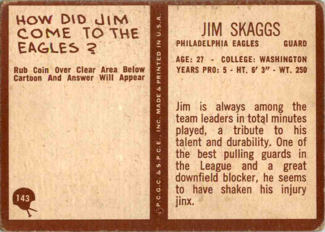 1967 Philadelphia Jim Skaggs #143 card back image