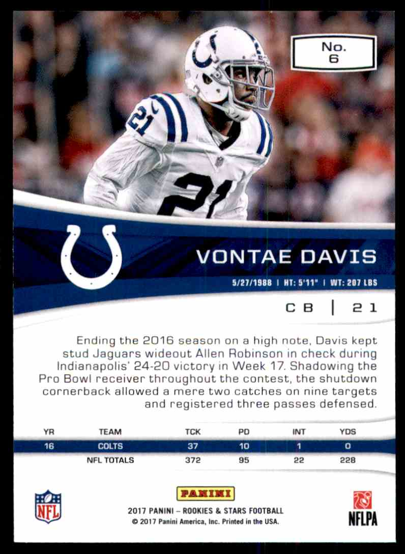 2017 Rookies And Stars Vontae Davis #6 card back image