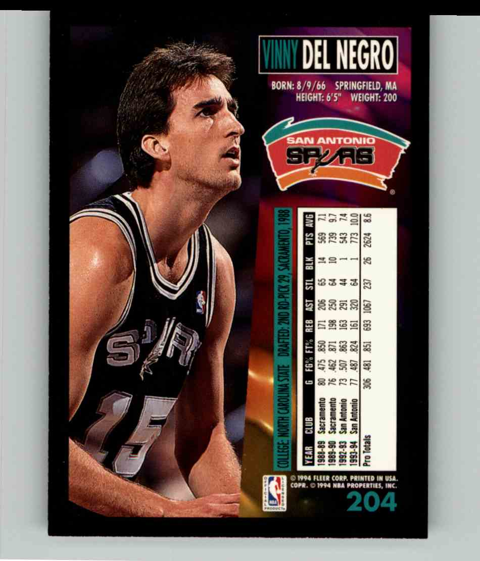 1994-95 Fleer Vinny Del Negro #204 card back image