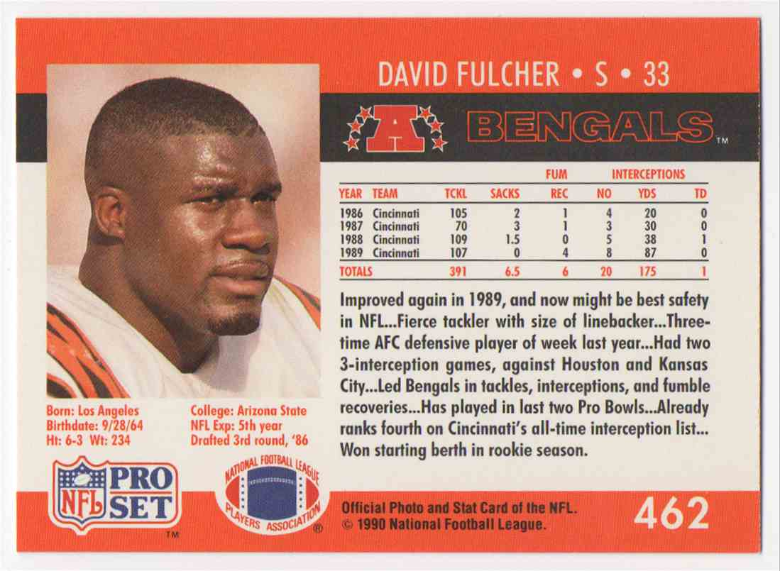 1990 Pro Set David Fulcher #462 card back image