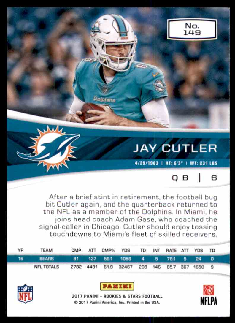 2017 Rookies And Stars Jay Cutler #149 card back image