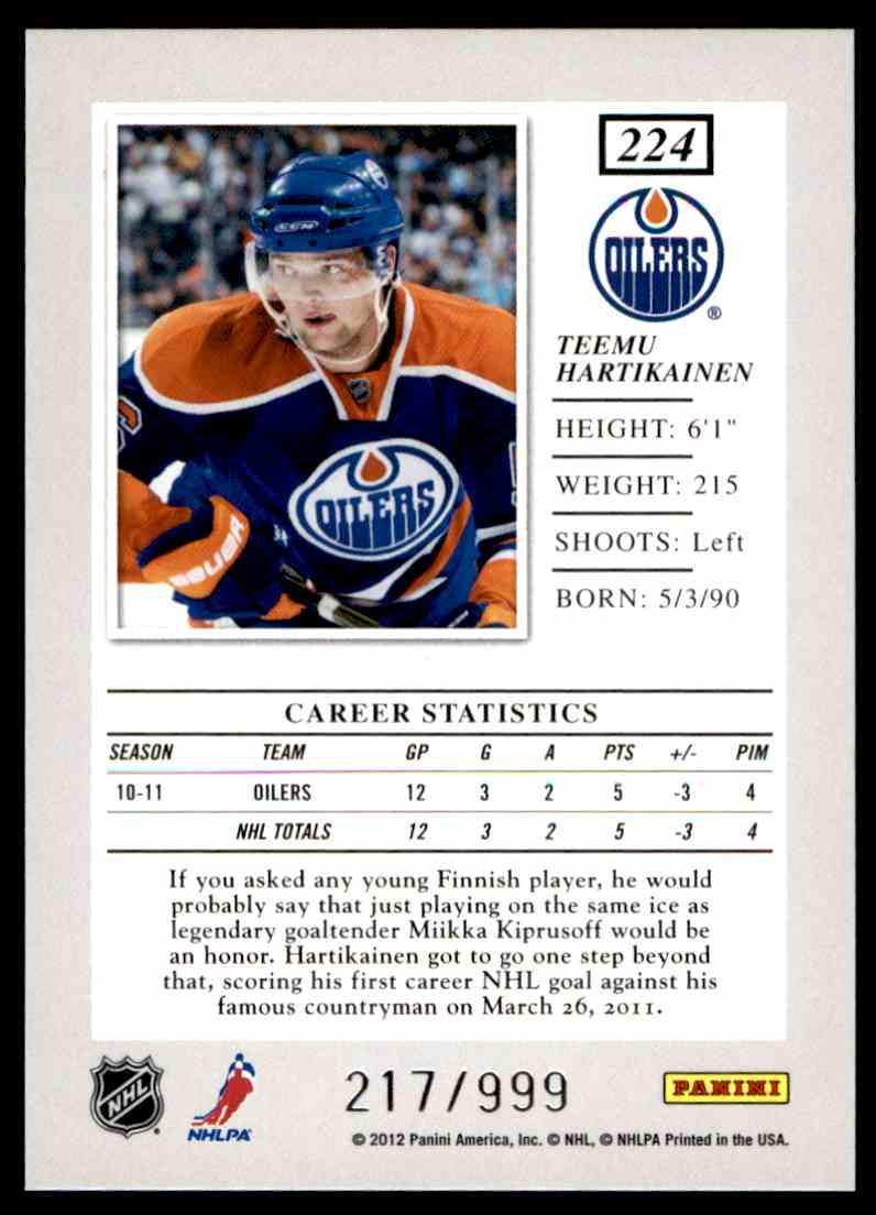 2011-12 Panini Elite Rookie Teemu Hartikainen #224 card back image