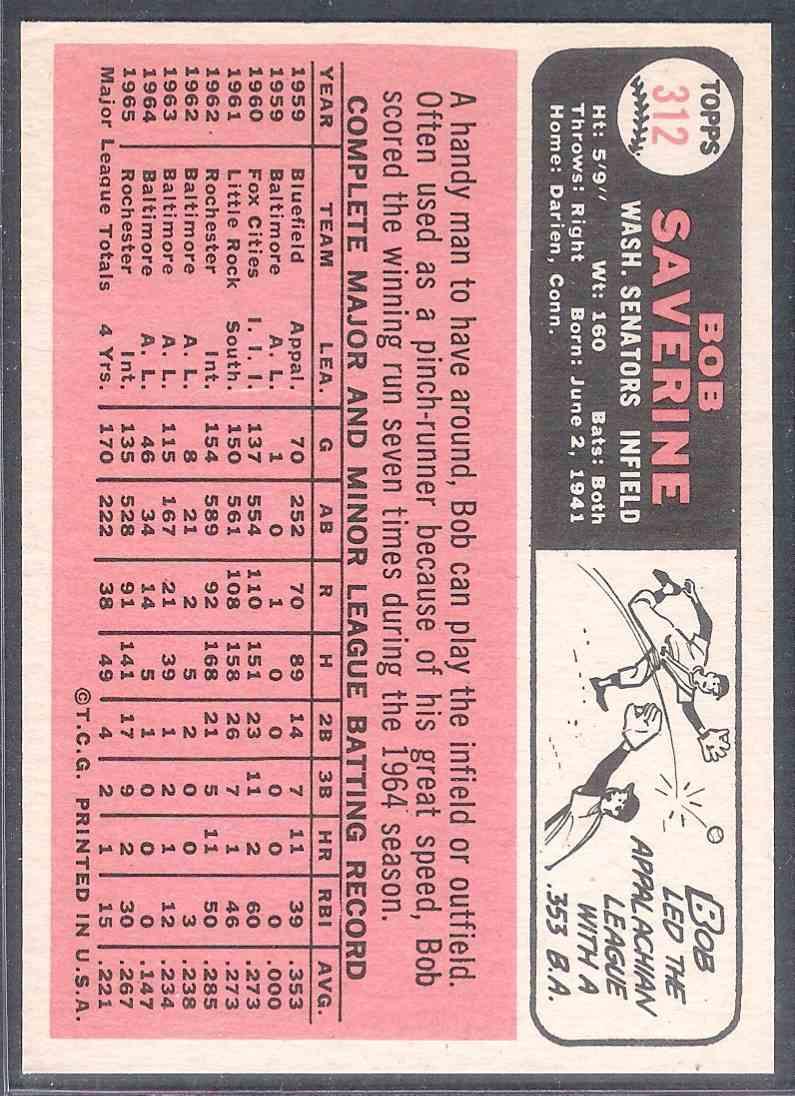 1966 Topps Bob Saverine Nm #312 card back image