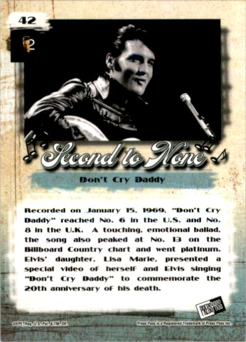 2007 Elvis The Music Don't Cry Daddy #42 card back image