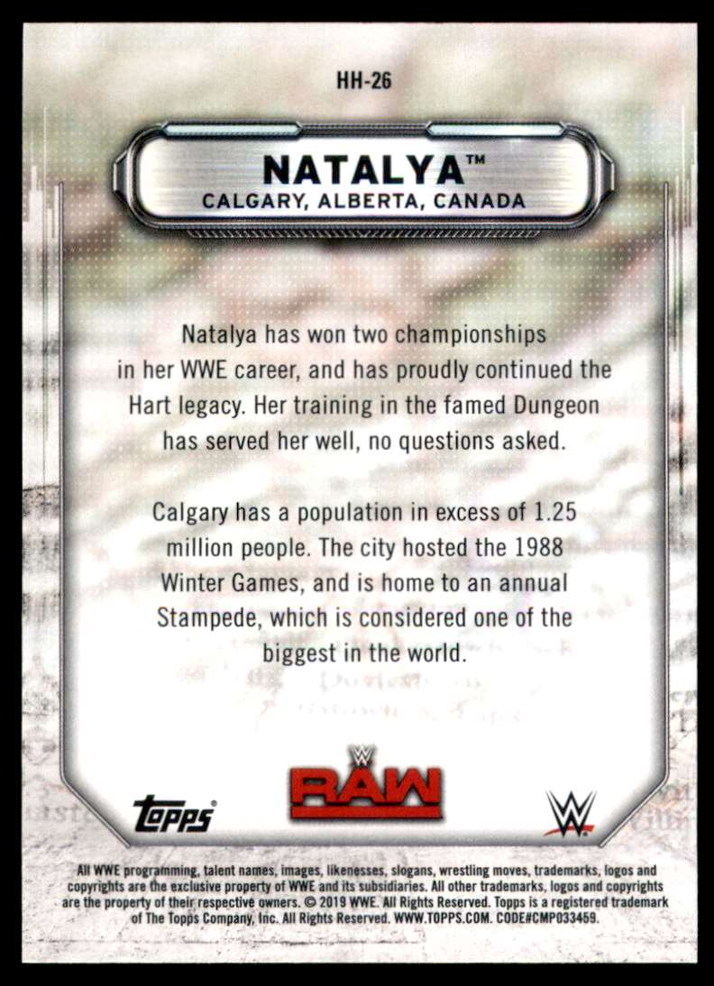 2019 Topps Wwe Raw Hometown Heroes Natalya #HH26 card back image