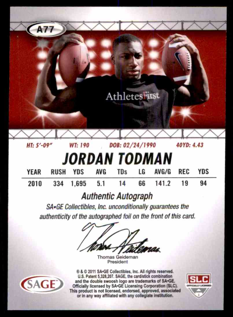 2011 Sage Hit Jordan Todman card back image