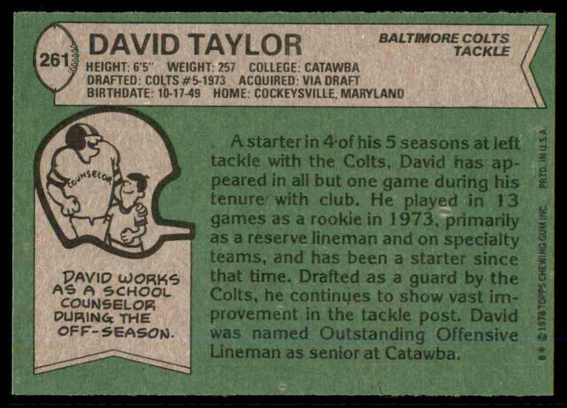 1978 Topps Football David Taylor #261 card back image