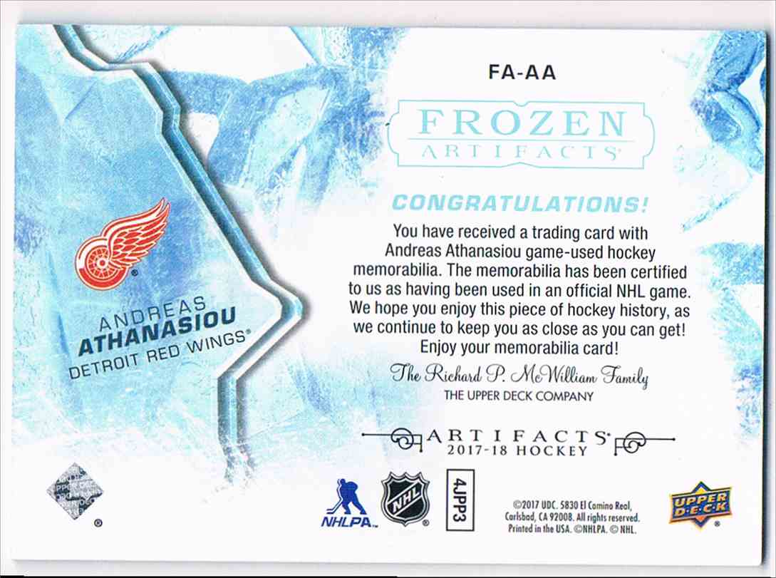 2017-18 Artifacts Frozen Jersey Andreas Athanasion #FA-AA card back image