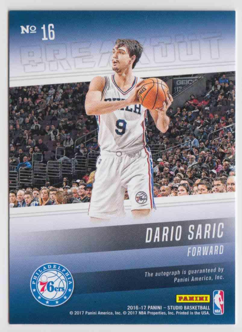 2016-17 Panini Studio Breakout Signatures Dario Saric #16 card back image