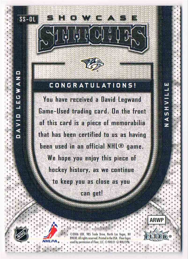 2006-07 Upper Deck Flair Showcase Stitches David Legwand #SS-DL card back image