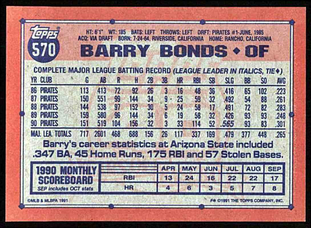 1991 Topps Barry Bonds #570 card back image