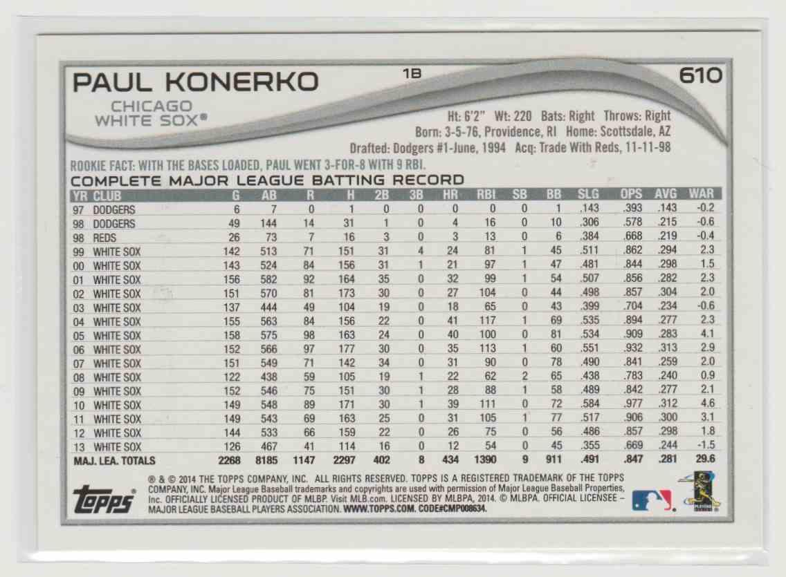 2014 Topps Paul Konerko #610 card back image