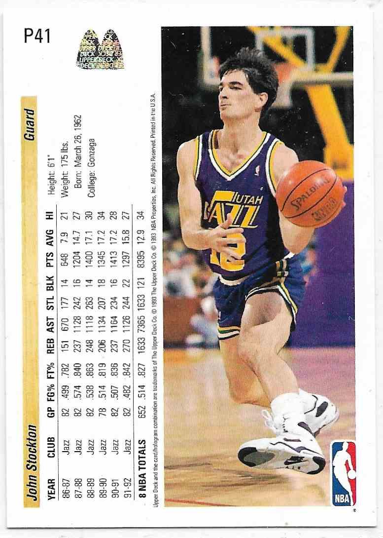 1993-94 Upper Deck McDonald John Stockton #P41 card back image
