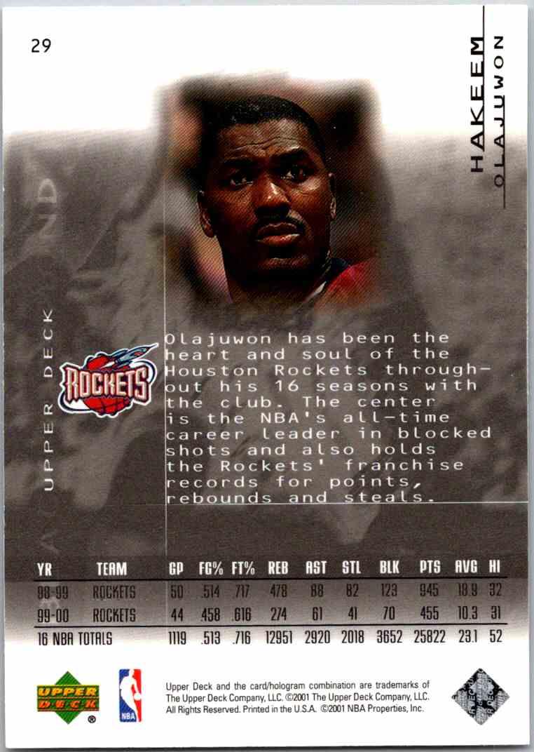 2000-01 Upper Deck Black Diamond Hakeem Olajuwon #29 card back image