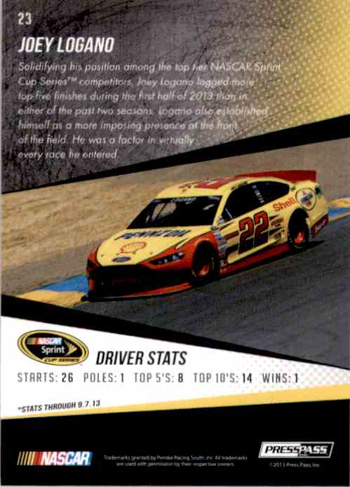 2014 Press Pass Joey Logano #23 card back image