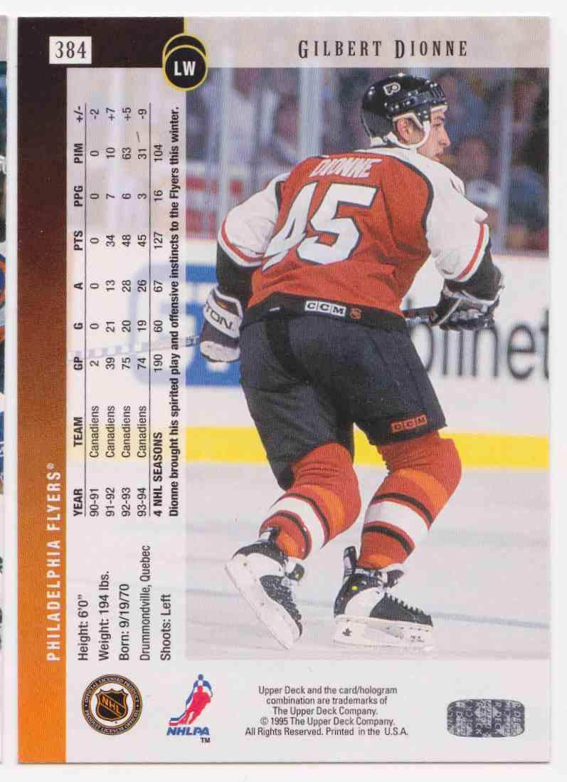 1994-95 Upper Deck Gilbert Dionne #384 card back image