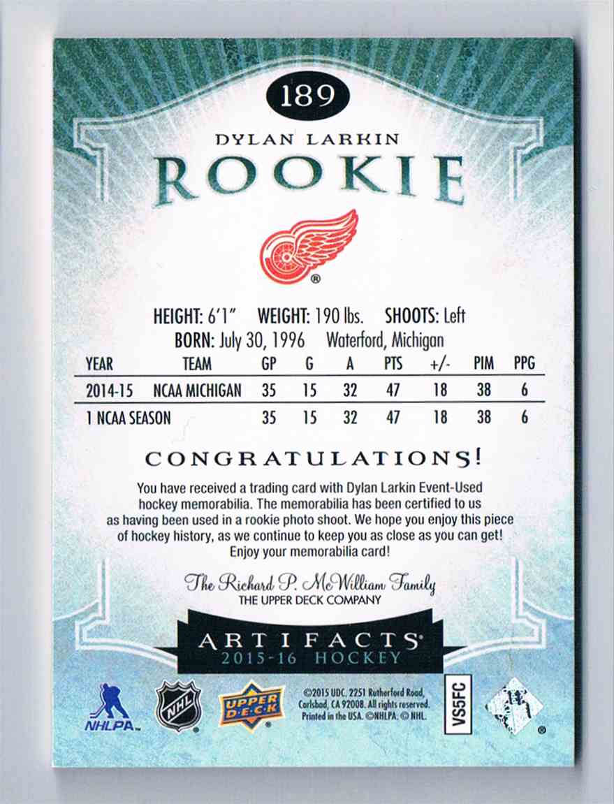 2015-16 Upper Deck Artifacts Dylan Larkin #189 card back image
