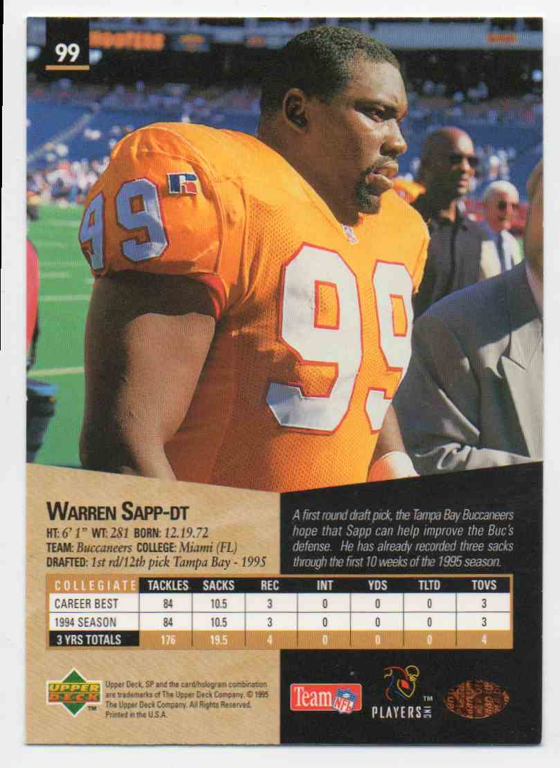 1995 SP Warren Sapp #99 card back image