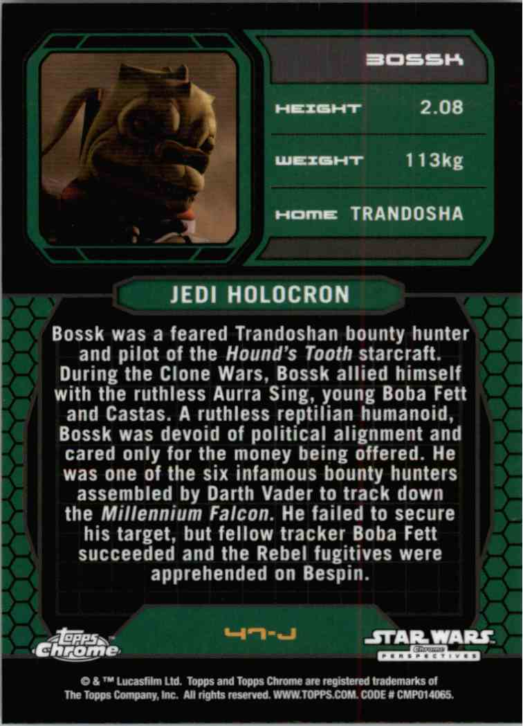 2015 Topps Chrome Star Wars Jedi Temple Archives Bossk #47-J card back image