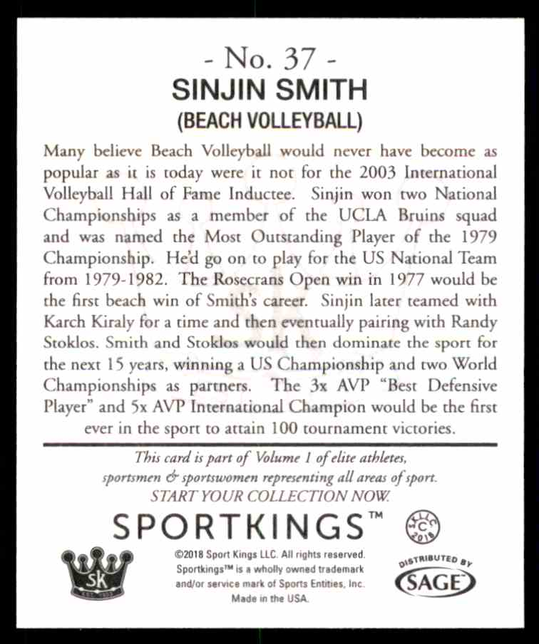 2018 Sportkings Black Back Retail Mini Sinjin Smith #37 card back image