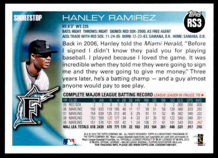 2010 Opps Factory Set Retail Bonus Hanley Ramirez #RS3 card back image