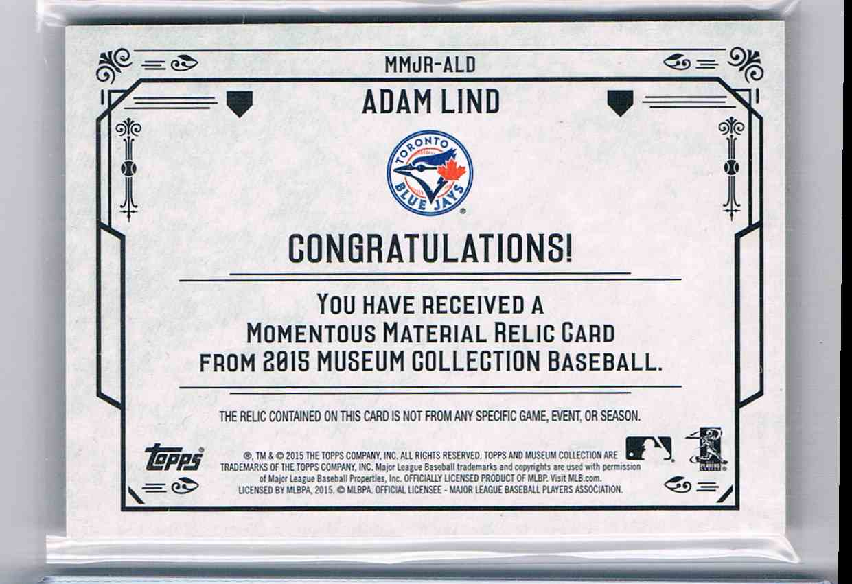 2016 Topps Museum Collection Adam Lind #MMJR-ALD card back image