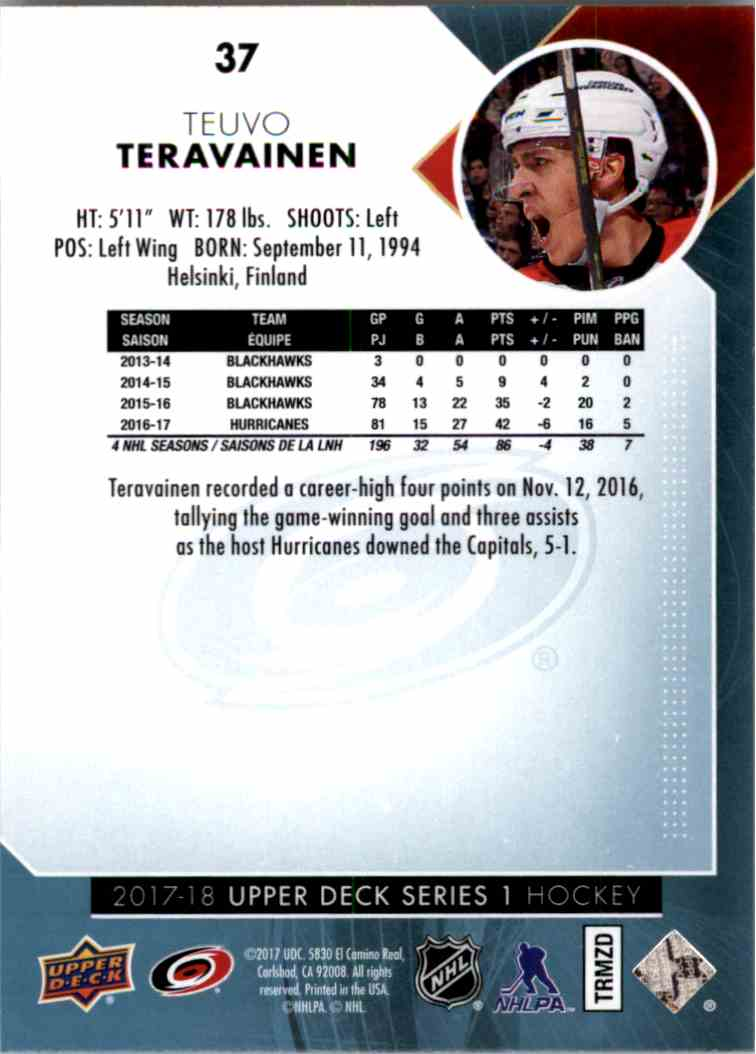 2017-18 Upper Deck Series 1 Tuevo Teravainen #37 card back image