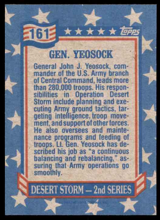 1991 Desert Storm Topps Gen. Yeosock #161 card back image