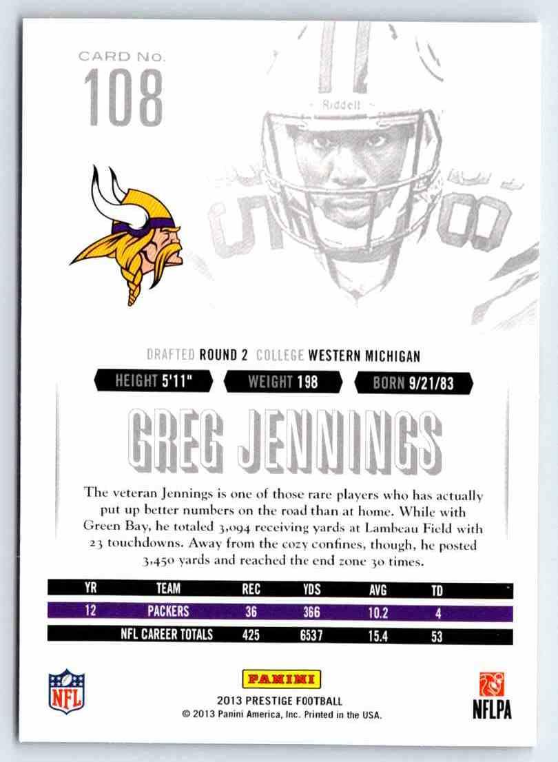 2013 Prestige Greg Jennings #108 card back image