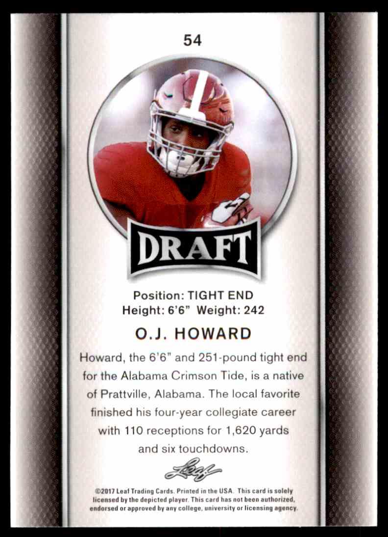 2017 Leaf Draft O.J. Howard #54 card back image