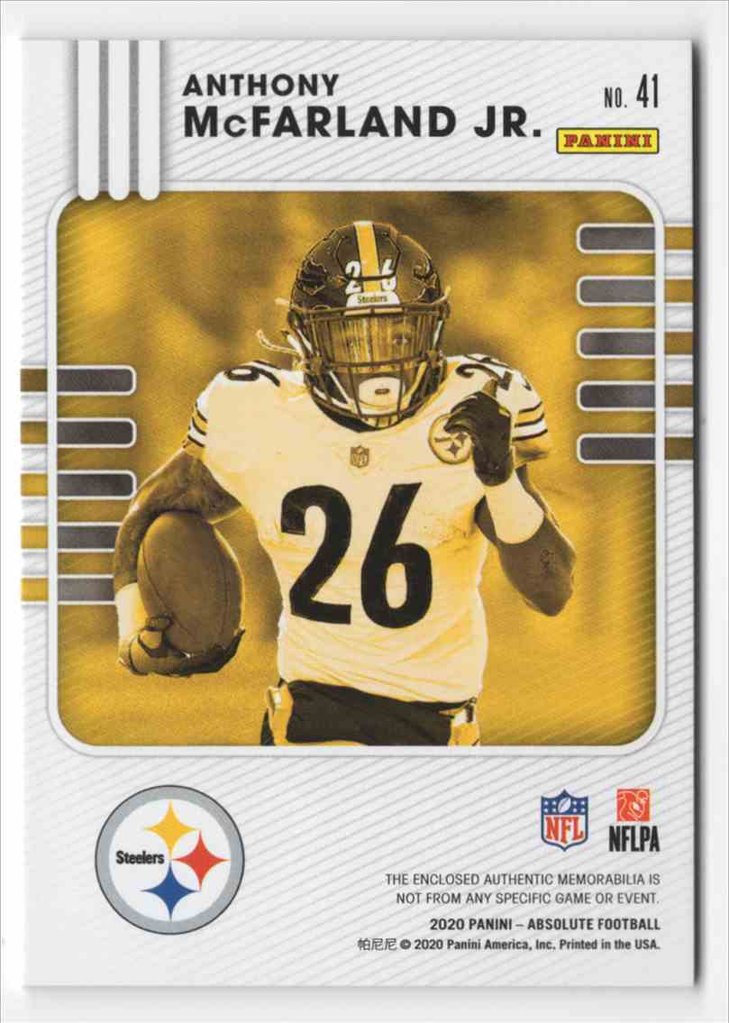 2020 Absolute Absolute Rookie Materials Anthony McFarland JR. #41 card back image