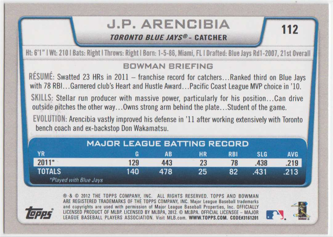 2012 Bowman J.P. Arencibia #112 card back image
